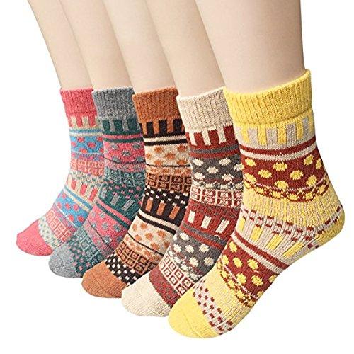 GARYOB 5 paia calzettoni Calze Inverno Caldo Lana Denso knit Calzini Da donna