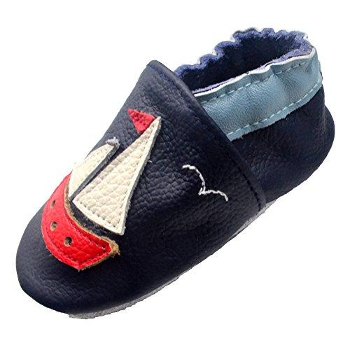 iEvolve Baby Mädchen Jungen Sterne Babyschuhe Baby Weiche Sohle Lederschuhe Baby Lauflernschuhe Krabbelschuhe(Marineblau Boot,6-12 Monate)