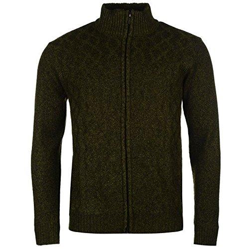 Pierre Cardin Full Zip Knit Cardigan Herren Khaki Jumper Pullover Top Small khaki