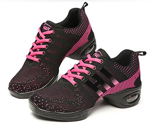 DADAWEN Chaussures danse femme Noir