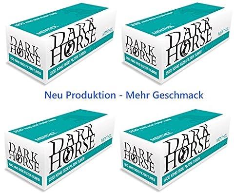 20 x 200 MENTHOL Zigarettenhülsen DARK HORSE Mentholhülsen Filterhülsen TIP (4000 Stück) Aroma versiegelt in Folie für frischen Rauchgenuss