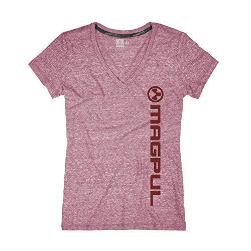 Magpul Damen Megablend Women's V-Neck Vert Logo T-Shirt kurzärmelig, Wine Heather, X-Small -