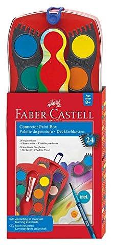 Faber-Castell 125029 Palette CONNECTOR x24 + pinceau (Palette de peinture 24 couleurs)
