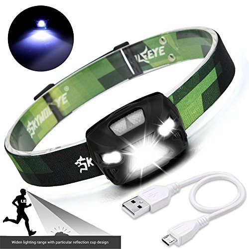 Stirnlampen ,COLORFUL_ 3000Lumen XPE LED IR Sensor Scheinwerfer USB Wiederaufladbare Camping Wandern Scheinwerfer ,LED Outdoor Sports Head Light (Schwarz) Ir-led-sensor