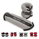 Promic Juego de lastres para tobillo o muñeca, ajuste cómodo Peso ajustable para ejercicio Fitness gimnasio Entrenamiento de Resistencia, gris/negro, juego de 2, disponible en 0,5kg, 1kg, 1,5kg, 2kg, 2 x 2KG Black/Grey