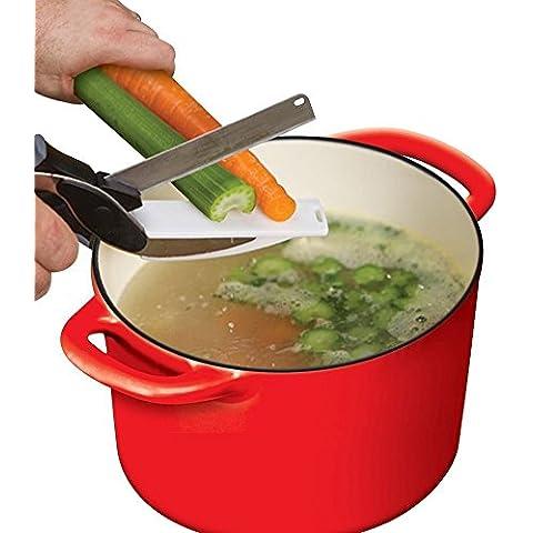 Ouba Vhari 2 en 1 Cuchillo de Cocina y de Tijera con la Tarjeta de Corte Rápidamente Corte frutas, Fácil de la cocina vida con Clever cortador Alimentación Chopper Hortalizas con Smart cortador(9.8inch* 2.8inch* 1.2inch)