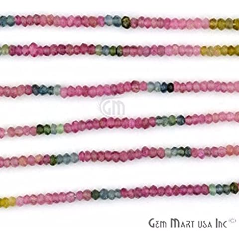 1 Strand Multi Tourmaline Faceted Rondell 2.5-3mm, 13 Length AAAmazing quality 100 Percent Natural. (RLTM-70001) by Gem Mart Usa - Multi Gem 3 Strand