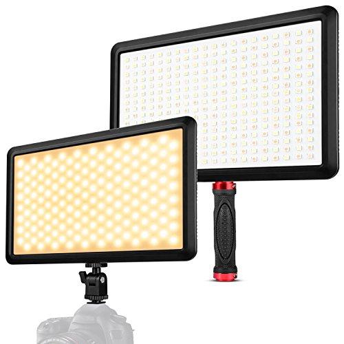 """Zecti 320LED Videolicht 17\"""" Dimmbare Kameralicht mit große Beleuchtungsstärke und Belichtungsfläche, Videolampe mit Hot Shoe und Lichtgriff, für Camcorder DSLR Nikon Pentax Panasonic Sony Samsung"""
