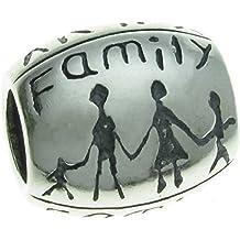 Queenberry - Ciondolo in argento Sterling con famiglia felice, per braccialetti di tipo Pandora, Troll, Chamilia, Biagi e altri bracciali europei con ciondoli