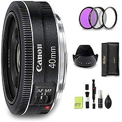 GYTE Bundle | Objectif Canon - EF 40mm f/2.8 STM - Pancake Objectif pour Appareil Photo Numérique + 3 pièces de Filtre + Pare Soleil + Kit de Nettoyage | Pack d'accessoires Premium