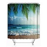 Nibesser Duschvorhang Strand Urlaub Stil Anti-Schimmel Bad Vorhang Wasserdicht Badewannenvorhang Waschbarer Textil 180 * 180cm 1 Stuück (#5)
