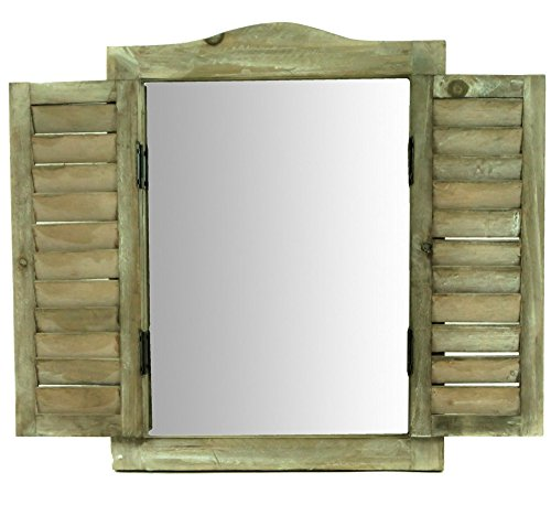 east2eden Wooden Garden Shabby Chic Vintage Distressed Look Wall Mirror (Natural Brown)