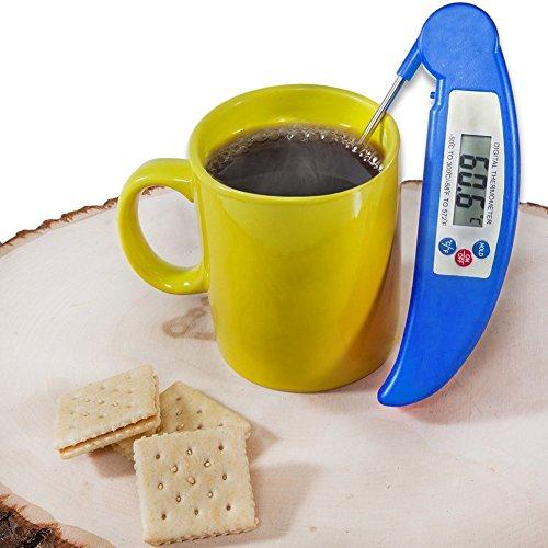 Grillthermometer BBQ Thermometer Digital Fleisch Bratenthermometer Küche Digital Kochen Thermometer mit klappbar Sonde Edelstahl Probe für Garten Grillen Backen Ofen Kochen Steak usw, Blau