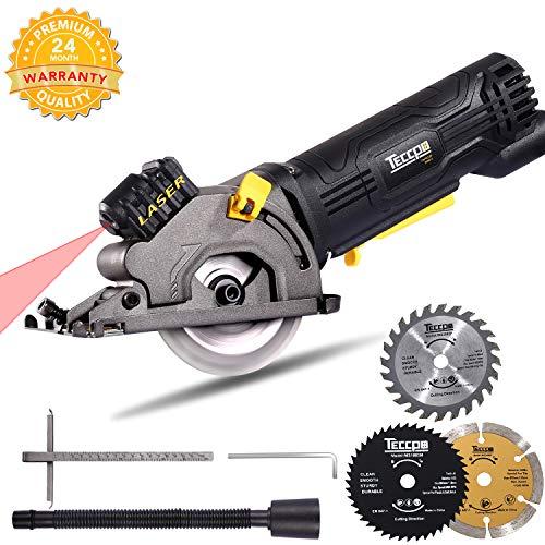 Scie Circulaire, TECCPO 3500RPM Mini Scie Circulaire, Guide de Laser, 3 Lames, Profondeur de Coupe:...