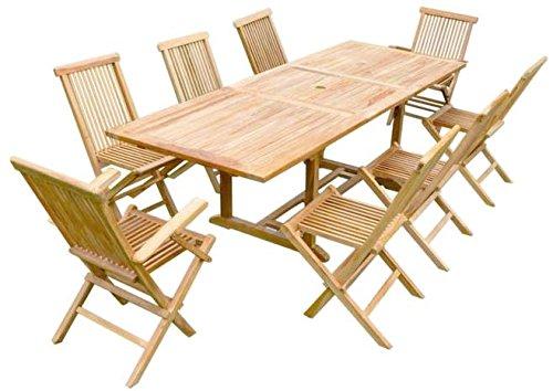 Table Melila rectangulaire en Teck Brut 180/240 (avec rallonge), 6 chaise et 2 fauteuils