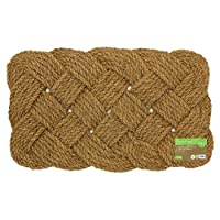 JVL Natural Hand Made Knotted Rope Coir Door Mat, Rattan, Brown, 45 x 75 cm