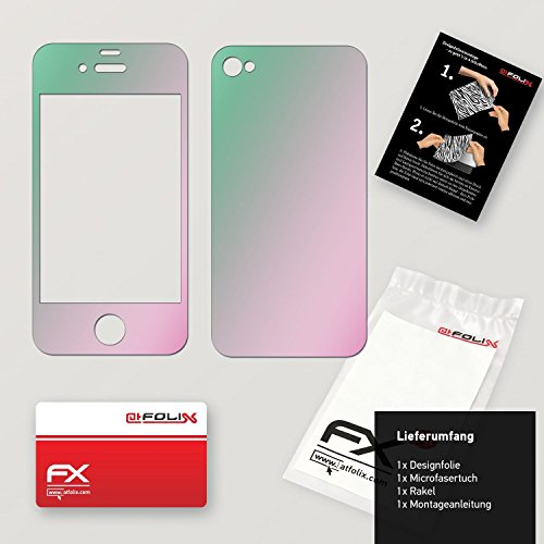 "Skin Apple iPhone 4 / 4s ""FX-Brushed-Black"" Designfolie Sticker FX-Variochrome-Spectral"