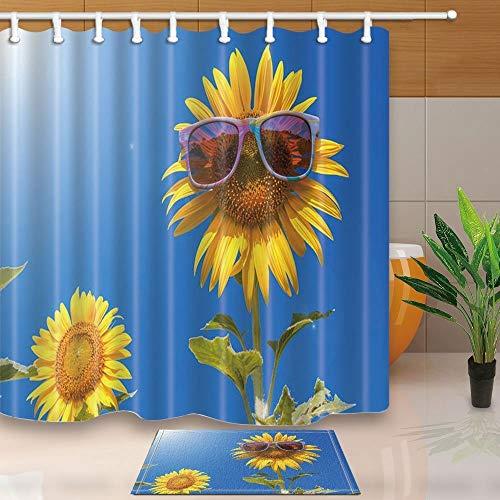 gohebe Abstrakt Decor Sonnenblumen mit Sonnenbrille unter BLUE SKY 180x180cm Polyester Stoff Vorhang f¨¹r die Dusche Anzug mit 39,9x59,9cm Flanell rutschfeste Boden Fu?matte Bad Teppiche