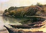 Das Museum Outlet–Kanus by Bierstadt, gespannte Leinwand Galerie verpackt. 29,7x 41,9cm