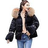 Selou Winter Damenjacke Die robuste dicke Jacke der Frauen Slim Fit warmer Mantel Großer Pelzkragen dicker Mantel Schlichte Bluse Kurzer Mantel mit Reißverschluss Komfort-Cardigan für Studenten