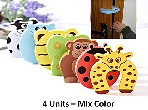 0-Degree 4 Units Mix Color Premium Door Stopper Finger Pinch Guard And Accidental Door Lock Protection For Baby Safety Made Of 1.2 Cm Thick Foam