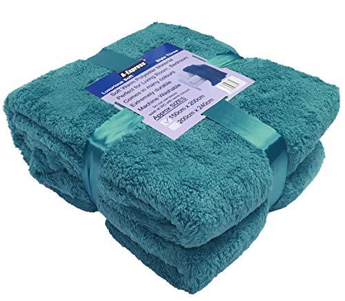 A-Express Chaude Bleu Sarcelle 200cm x 240cm Doux Confortable Teddy Sherpa Couverture Polaire Throw Plaid
