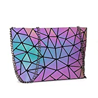 DIOMO Geometric Luminous Purses and Handbags for Women Holographic Reflactive Crossbody Bag (Green X)