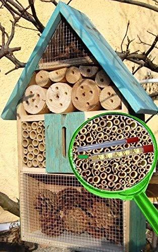 BTV Hôtel à insectes biologique avec parois effet déperlant et 2 tubes d'observation en verre de 8 et 11 mm entièrement remplis de cellulose et de bourre pour nichoir pour lutter contre les pucerons À suspendre ou poser 50 cm