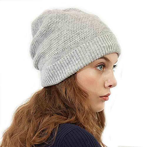 SUN Trendy  Winter  Slouchy Blended Thick Futter Strickmütze  Knit Warm Ski Hut Mütze (Farbe : Grau) Knit Slouch Hut