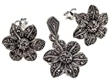 Stylish Jewellery: 925 Sterling Silver Vintage Flower Shaped Marcasite Earrings & Necklace Set. Come With Sterling Silver Snake Chain - 42cm