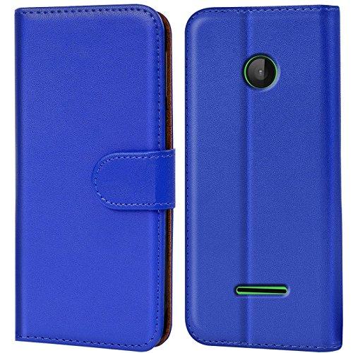 Conie Handyhülle für Microsoft Lumia 532 - Bookstyle- Klapp- Serie, Etui aus PU Leder, Lumia 532 Booklet Flip Hülle Blau
