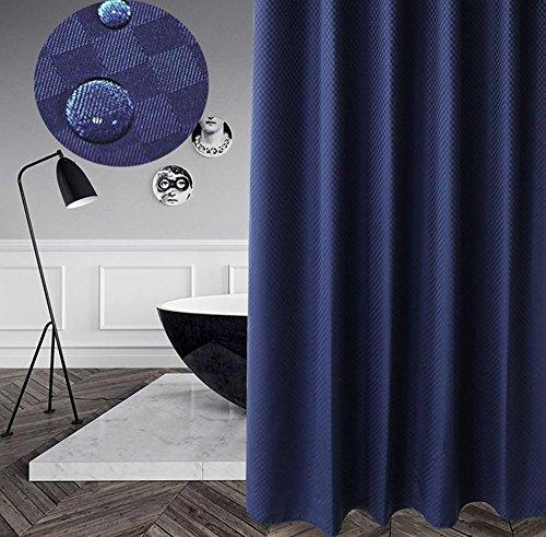 eforcurtain Classic Karierte Muster Wasserdicht Duschvorhang,, Heavy Gewicht Polyester schimmelabweisend Badezimmer Vorhang, Polyester-Mischgewebe, navy, 72W x 72L - Liner-navy Blau Dusche Vorhang