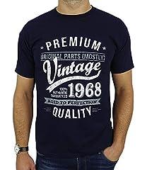 Idea Regalo - 1968 Vintage Year - Aged To Perfection - Regalo di Compleanno Per 50 Anni Maglietta da Uomo Blu Marino L