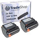 2x Hochleistungs Li-Ion Akku 18V / 2000mAh ersetzt Gardena 09840-20 BLi-18 für Gardena 8877 9335 8881 8866 9823 9825 Accu Hedge Trimmer EasyCut Li-18/50 High Delimber TCS Li-18/20