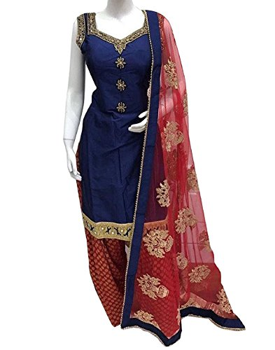 Krisha Creations Women's Silk Patiala Salwar Suit Set (Kcn22_Blue-Red_Free Size)