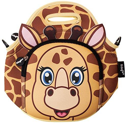 Bag Neopren Thermo Isolierte Reißverschlussfach Schultergurt Kindergarten Kühltasche 29H x 29L x 15W cm giraffe (Kleine Leckerbissen Taschen)