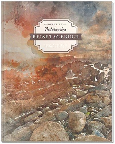 DÉKOKIND Reisetagebuch: DIN A4, 100+ Seiten, Register, Vintage Softcover   Auch als Abschiedsgeschenk   Motiv: Küste