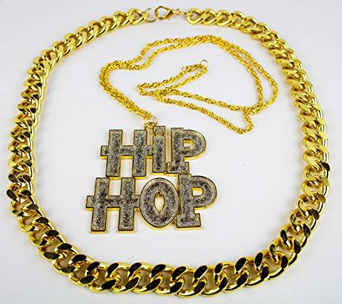 Snoop Kostüm Dog - Panelize® Rapper Hip Hop Mega Set - Hiphop Kette und schwere Goldkette