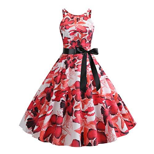 Saihui_Women Dress Sommerkleid 1950er Jahre Retro Audrey Hepburn 50er 60er Jahre Rockabilly ärmellos Floral Party Cocktail Cocktailkleid mit Gürtel (Ziel Link Kostüm)
