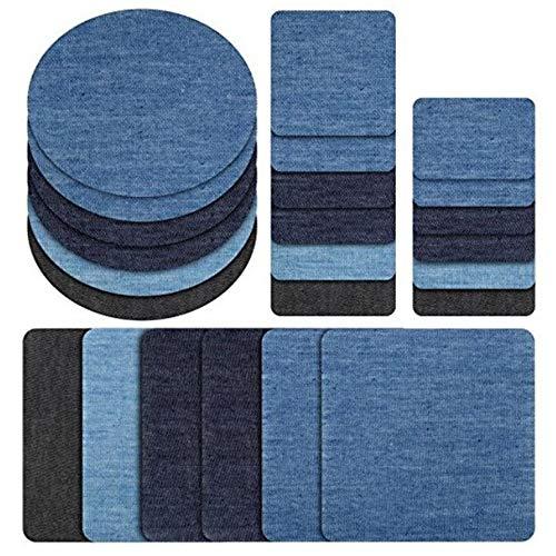 Amaoma 24 Stück Aufbügelflicken Jeans Flicken zum Aufbügeln Jeans Patches zum Aufbügeln Patch Sticker Bügelflicken Denim Patches Jeans Reparatursatz für Jeans DIY Taschen