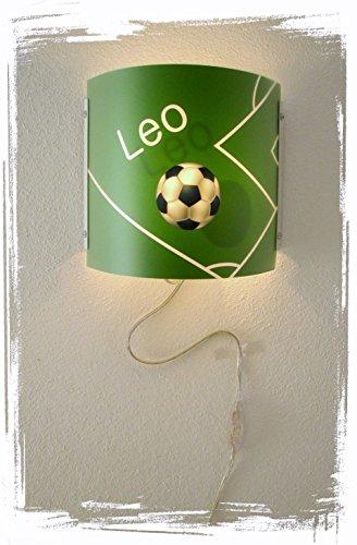 Kinder Leuchte als Wandlampe/Schlummerlicht oder Nachtlicht für Steckdose/personalisiert mit Namen Motiv Fußball