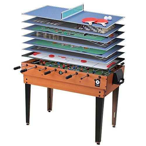 Miweba Multigame Spieletisch 15 in 1, Tischfußball Kicker Billard Hockey Spieltisch Holz Hell