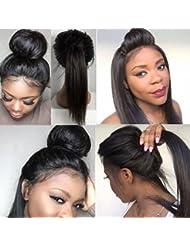 S-noilite ® Perruques brésiliennes 100%Cheveux humains Perruques avec dentelles cheveux ondulés avec cheveux de bébé naturels noirs