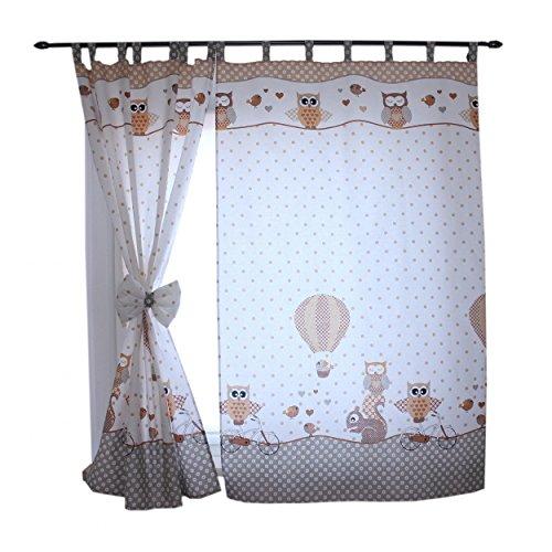 2er Set Gardinen Kinderzimmer Vorhänge mit Schlaufen und Schleifen 155x95 cm Dekoschal Schlaufenschal , Farbe: Eulen 2 Beige, Größe: ca. 155x95 cm
