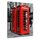 Bilderdepot24 Kunstdruck - Rote Telefonzelle in London - Bild auf Leinwand - 30 x 40 cm - Leinwandbilder - Bilder als Leinwanddruck - Wandbild Städte & Kulturen - Europa - England - Klassiker