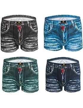 4 pack Uomo Pantaloncini Boxer Cotone Moda Cowboy Stampa Confortevole traspirante Biancheria Intima