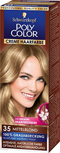 Schwarzkopf Poly Color Creme Haarfarbe Coloration 35 Mittelblond Stufe 3, 3er Pack (3 x 83 ml)