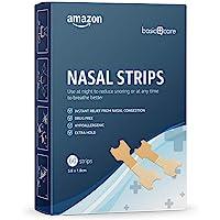 Amazon Basic Care - Cerotti nasali antirussamento, per alleviare la cogestione nasale, misura media - confezione da 60