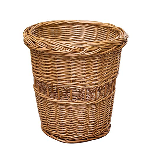 Hujindong lamp Wicker Rattan Trash Papierkorb Home Office Badezimmer Schlafzimmer Trash Basket Blumenkorb