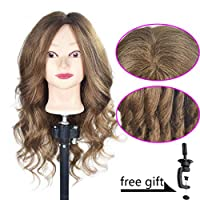"""20""""-22"""" Training Head 100% Human Hair Cosmetology Hairdressing Mannequin Manikin Doll Head (Table Clamp Holder Included)"""